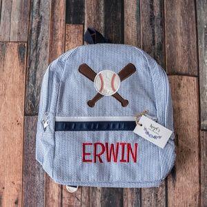 Baseball applique seersucker backpack